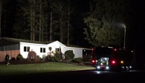 Kitsap County firefighters and deputies respond to a homicide at a home near Lake Tahuya in Seabeck.