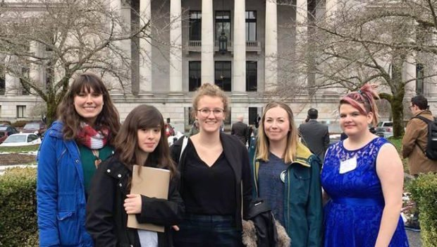 Students from Walla Walla University gathered in Olympia last month to urge lawmakers to fully fund the State Need Grant. (Jose Acosta/Walla Walla University)