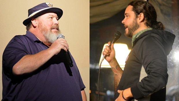 Comedians Cris Larsen, left, and Joseph Rogers, right, are integral parts of Kitsap County's burgeoning comedy scene. (Steven Wyble / Kitsap Scene)